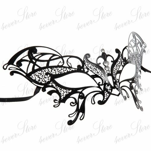 Black Womens Ravishing Butterfly Laser-Cut Metal Venetian Masquerade Mask