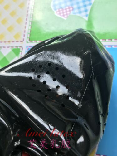 923 Latex Mask Mesh Eyes WITH RED TEETH AND NOSE TUBE