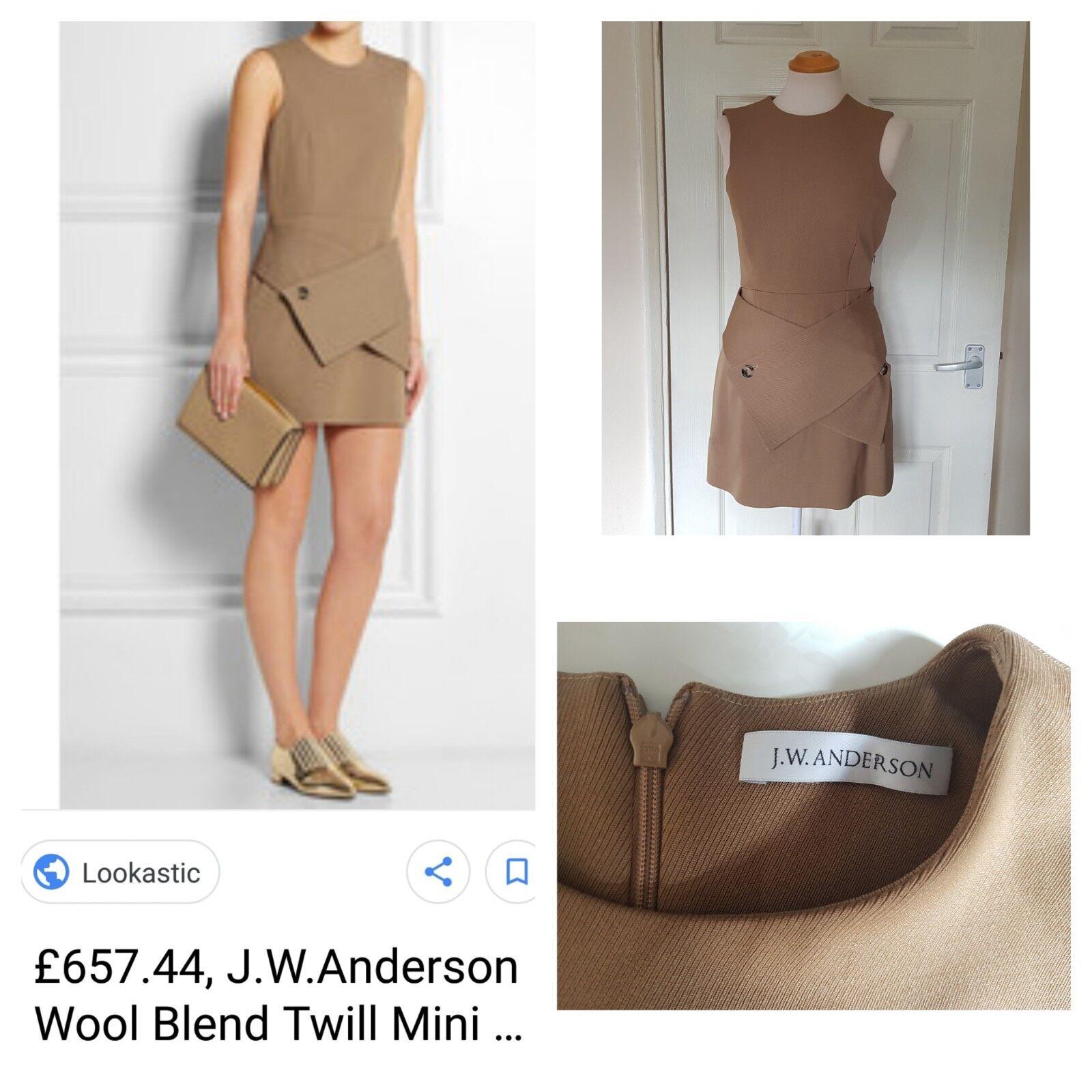 Designer J.W Anderson Tan Brown Wool Blend Twill Mini Mini Mini Sheath Dress Smart 665de5