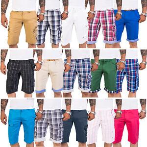 Herren Shorts Bermudas Kurz Hose Herren Short Sommer Cargo-Shorts Kariert M51