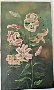BIG ANTIQUE OIL PAINTING STILL LIFE FLORAL VICTORIAN COUNTRY FOLK ART PRIMITIVE