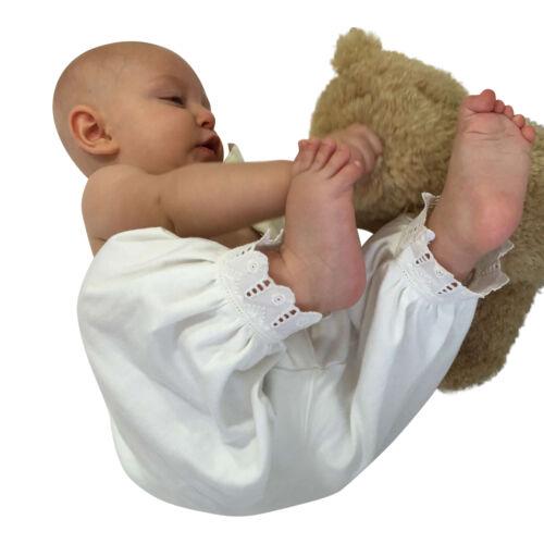 Victorian Pantaloon Organic Cotton Baby Gift White Lace Retro Style Long Pants