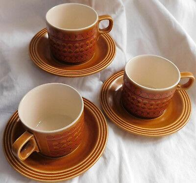 Hornsea Pottery 3 tea cups and saucers Saffron pattern 1970s vintage tableware