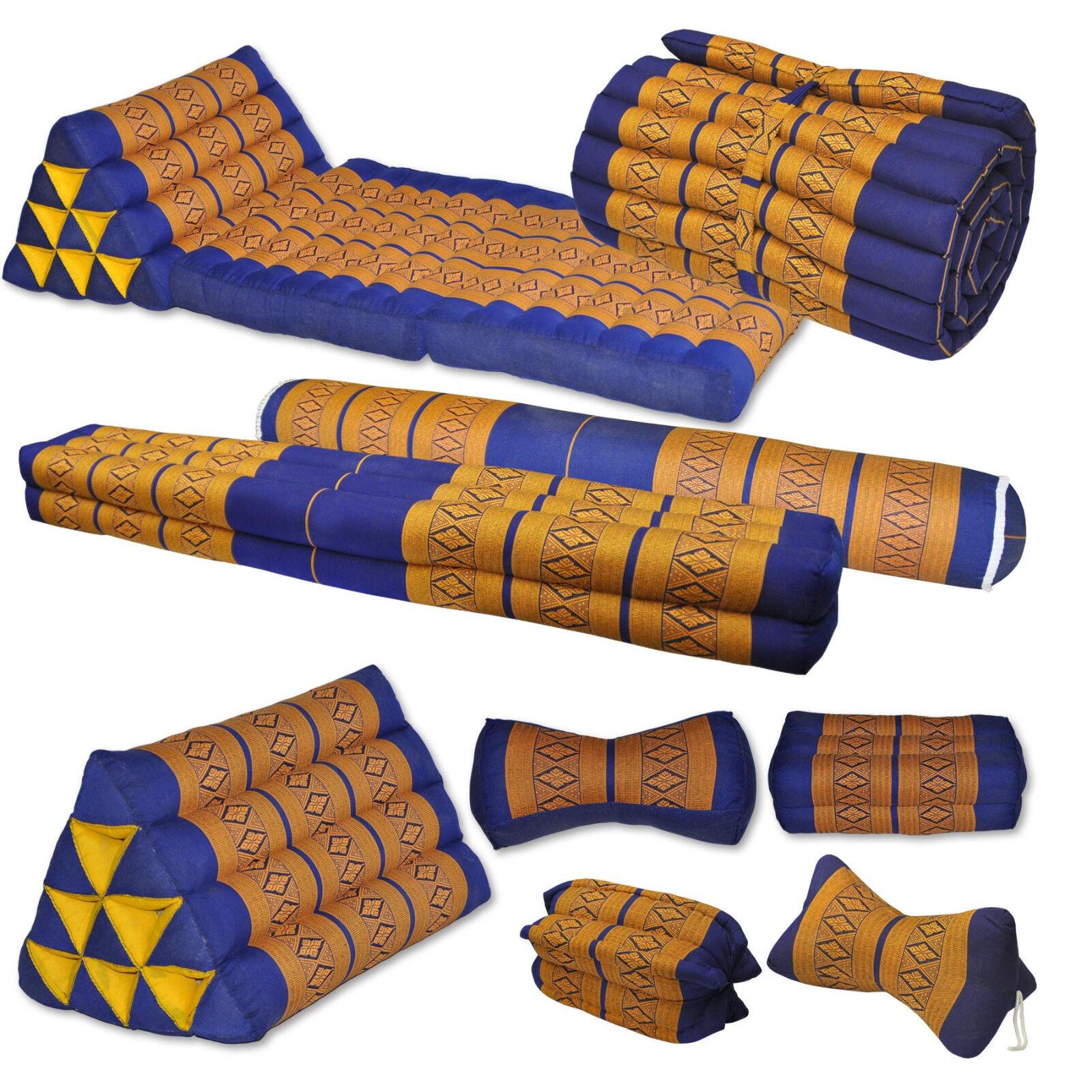 Kissen Matte blau Orange Gymnastik Deko Boden Garten sitzen liegen Couch Thai
