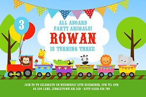10 Personalised Girls Boys Animal Train Birthday Party Invitations 1st 2nd 3rd