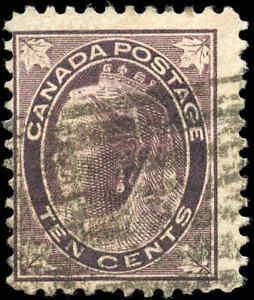 1897-Used-Canada-10c-F-Scott-73-Queen-Victoria-Maple-Leaf-Stamp