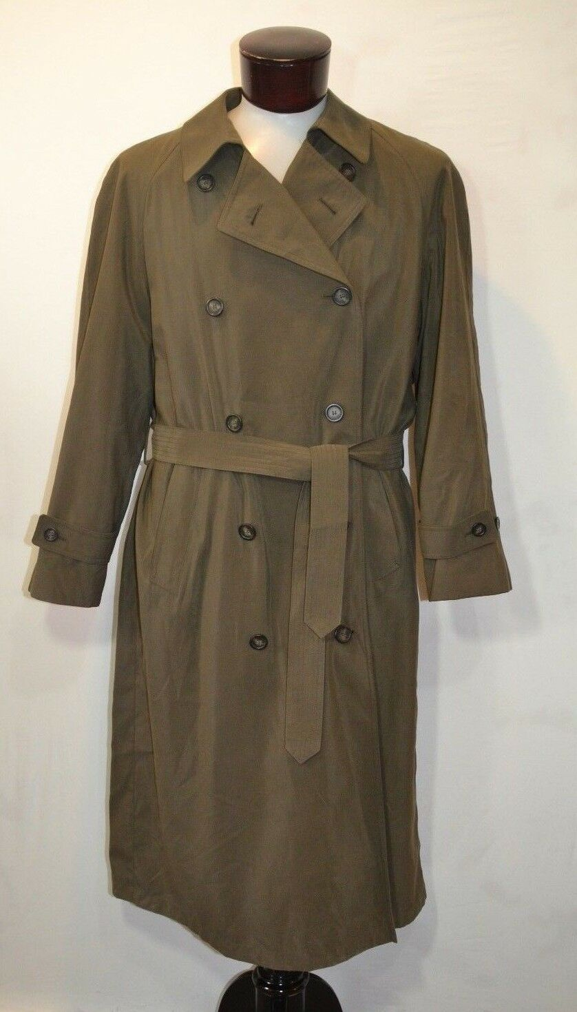 Ralph Lauren Chaps Trench Coat 42R Olive Grün Double Breasted Belted
