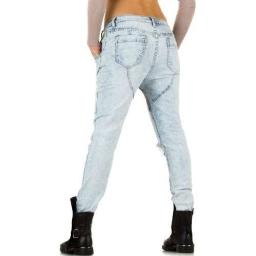 Women/'s boyfriends style stretch Jeans with Rips Light Blue UK 6-14