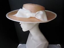 ERIC JAVITS  DESIGNER WIDE BRIM STRAW  HAT ... WHITE BOW & TRIM..  UNWORN