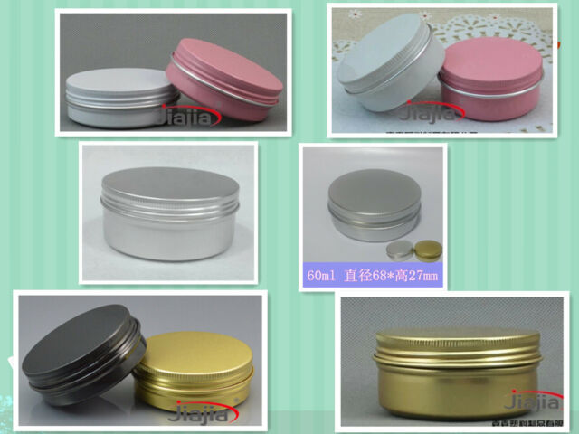 10 Aluminum Jars 50ml60ml80ml Silver Gold black pink white Cosmetic tin 50g60g