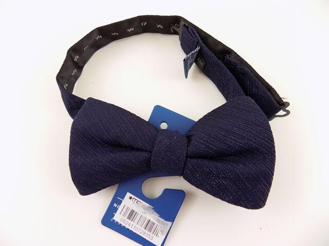 "RYAN SEACREST $65 Blue Striped MEN WIDTH 2.5"" Polyester Bow Tie ADJUSTABLE E16"