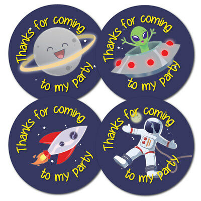 with space to write name Thanks For Coming To My Party Birthday Stickers 60mm 24 stickers Cake Design 4 colours per pack 30mm or 60mm