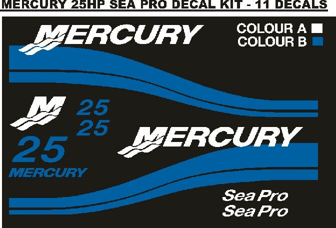 Mercury 25 sea pro outboard motor cowl decals stickers