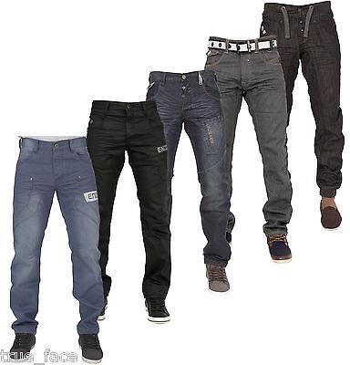 Jeans Da Uomo Enzo Regular Fit Pantaloni In Denim Gamba Dritta Pantaloni Tutte Le Taglie Vita-