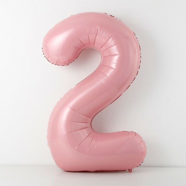 """40"""" Giant Pastel Pink Foil Balloon Number 2 Girl TWO Year Birthday Party"""