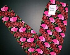 Heart Rose Print Leggings Pink Red Hearts Printed OS fits 2-10