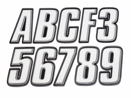 Letter Registration Kit Letter Number Sticker Decals Boat PWC White Black Reg