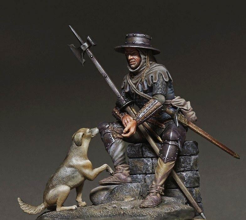 Resin soldier, museum, Medieval European Infantryman, Swiss mercenary, 75 mm
