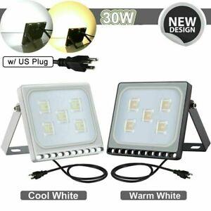 LED-Security-Flood-Light-Flood-Lights-w-US-Plug-Garden-Outdoor-Waterproof-Lamp
