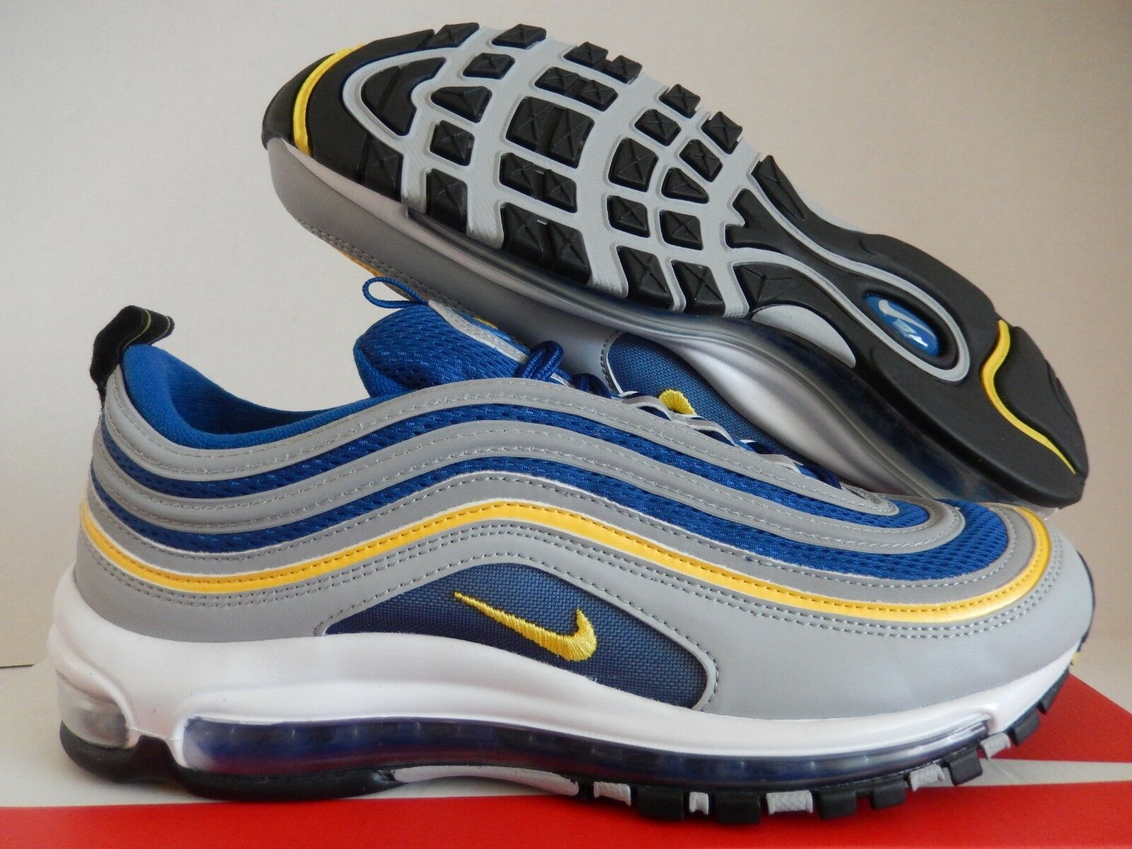 NIKE AIR MAX 97 WOLF GREY-TOUR YELLOW-GYM BLUE Price reduction New shoes for men and women, limited time discount