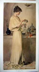 art-print-THE-LOVE-POTION-Hatton-Young-Victorian-Lady-mixing-romance-vtg-re15x28