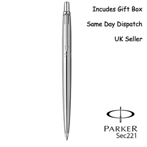 Sensible Personalised Engraved Parker Jotter Ballpoint Pen - Stainless Silver Blue&black