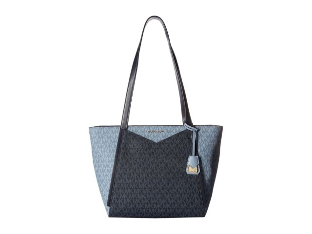 1372029a8fc2 Michael Kors Signature Admiral Pale Blue Whitney Top Zip Tote Purse