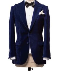 a840bcd3d Details about Men s Stylish Designer Elegant Party Wear Blue Velvet Smoking  Coat Jacket Blazer