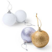6 X CHRISTMAS TREE BAUBLES XMAS DECORATION BAUBLE GLITTER GOLD SILVER WHITE NEW