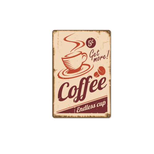 Coffee Vintage Metal Tin Sign Bar Home Retro Cafe Wall Decor Iron Art Poster