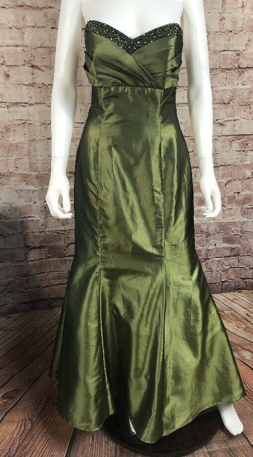 14db1b39b7 Niki Livas Green Metallic Beaded Mermaid Prom Formal Long Dress Size 8