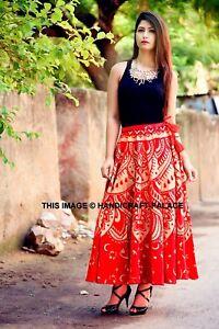 3df5927bb Indian Cotton Ombre Mandala Print Casual Women's Long Red Skirt Wrap ...