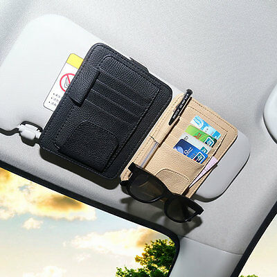 Sun-Visor Storage Organizer Bag Case Glasses/Parking Key Card Tax License Holder