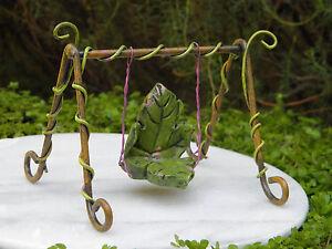 Miniature-Dollhouse-FAIRY-GARDEN-Furniture-Fairytale-Leaf-Swing-NEW