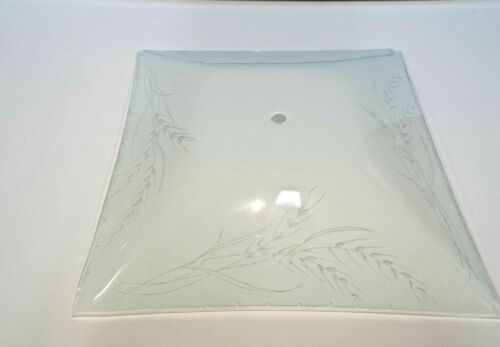 """VINTAGE 12/"""" Square WHEAT Glass CEILING Light Fixture SHADE Replacement 60084 NEW"""