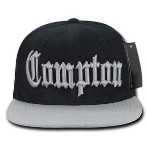 Black   Gray Compton Vintage Eazy E NWA Dre Cube Flat Bill Snapback ... 7a35b9a469a9