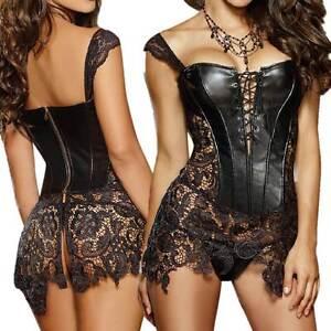 5353eaff94e Lingerie Plus Sizes S - 6XL Corset Dress Black Faux Leather Lace + G ...