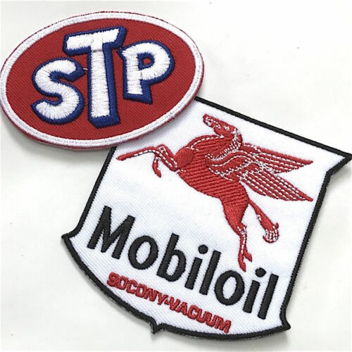STP /& Mobil Oil Combo Automotive Iron//Sewn On Embroidered Patch Set