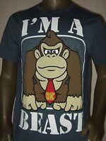 Mens Large Blue Donkey Kong Gorilla I'm A Beast Nintendo Game Logo Tee Shirt