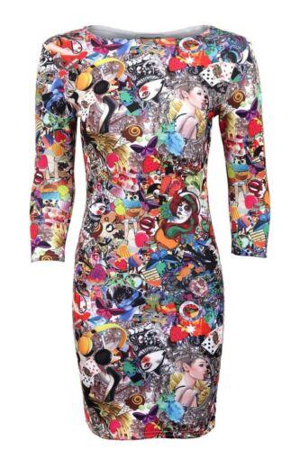 Women/'s 3 Quarter Sleeves Party Funky Crazy Print Ladies Bodycon Dress