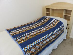 Handmade-Throw-Size-Quilt-Western-Geometric-Design-Blue-amp-Orange-53-034-X-53-034