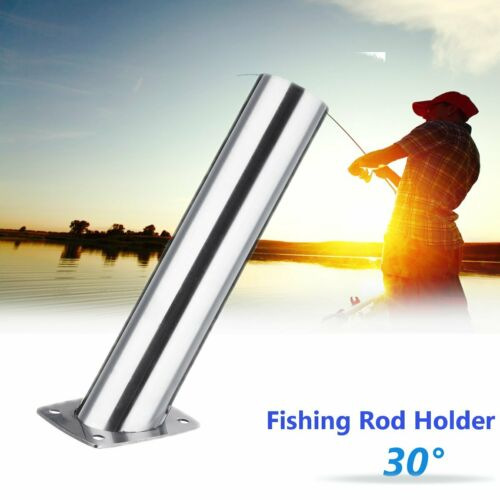 30° Degree Fishing Rod Holder Flush Mount Bracket Stainless Steel Polished Boat