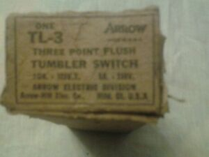Vintage 3 Point Flush Toggle Switch old new stock Arrow H&H