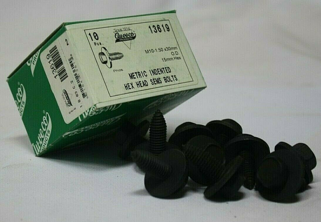 10 Metric Indented Hex Head Sems Bolts Auveco #13619 For Universal /& General Use