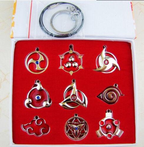 9pcs//1set Naruto Sharingan Konoha Pendant Necklace Keychain Metal Toy Gift