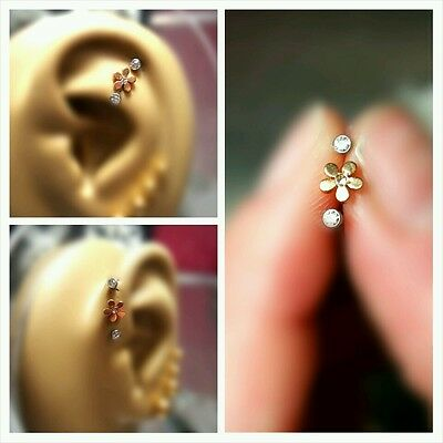 Flower Triple Forward Cartilage Tragus Helix Stud Earring Jewelry Piercing