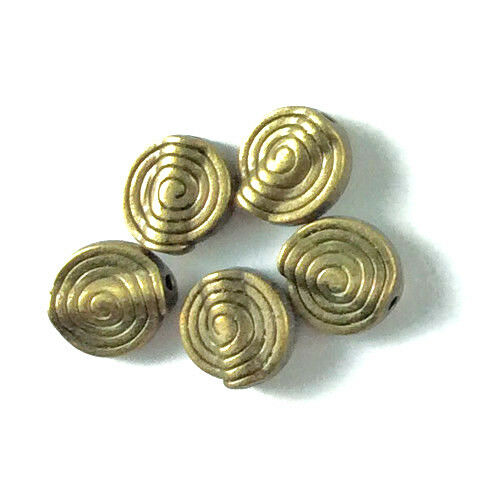 Antique Silver Brass Plated Lead Free Alloy 12x10mm Spiral Coin Beads Q28
