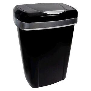 Hefty Kitchen Garbage Can Trash Bin Waste Basket Touch Lid 13 Gallon Black