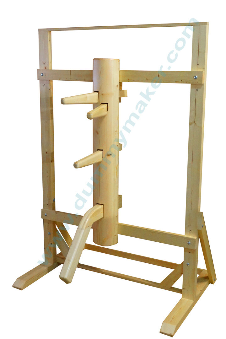 Wing Chun Wooden Dummy With Frame And Leg Natural Color