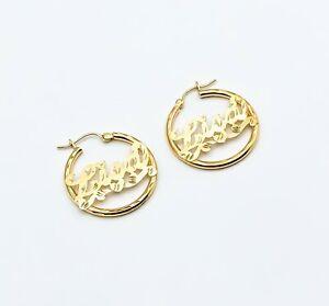 10k gold name earrings